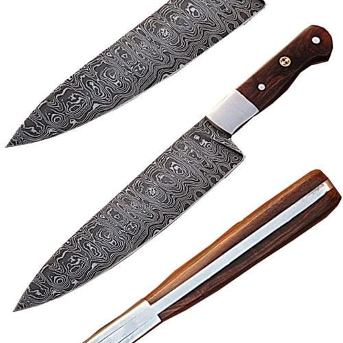 Custom Handmade Damascus Steel Chef Knife w/ Wood Handle