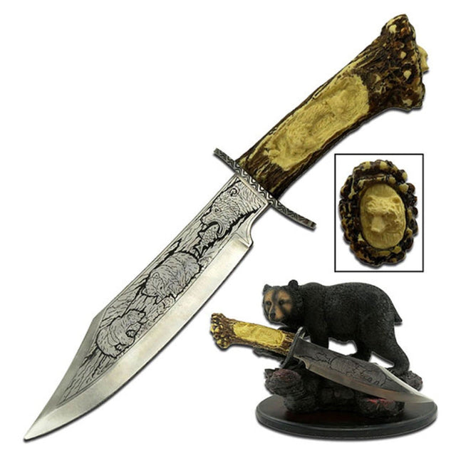Collectible Fixed Blade Knife w/Bear Resin Stand, WC-31B