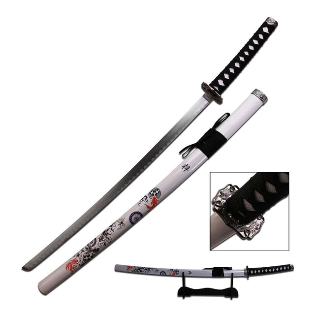 "Samurai Katana 40"" Overall White Scabbard Zinc Alloy Fittings"