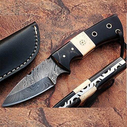 General Patton's Custom Full Tang Damascus Knife 1095 HC Steel Handmade