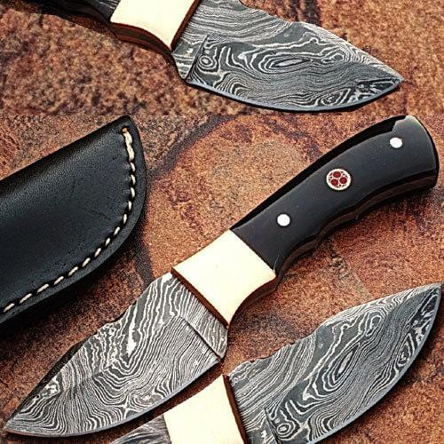 Custom Made Damascus Skinner Knife w/ Full Tang Buffalo Horn Handle,DMC-710