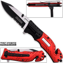 8in TAC Force Spring Assisted Firefighter Rescue Flashlight Pocket Knife - Knife Depot