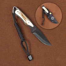 Stone River Black Ceramic Hunting Knife with Genuine Stag Handle & Formed Nylon Sheath