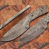 "8"" Damascus Steel Hunter Blank Blade - Knife Depot"
