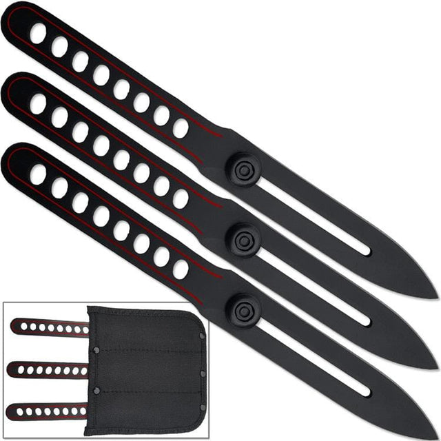 Ninja Red Line Throwing Knife Set with Arm Sheath