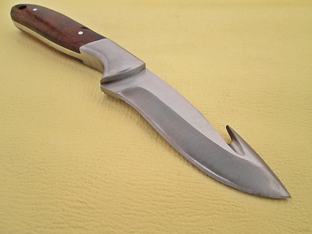White Deer Hunters Guthook Skinner Knife Wood Grip