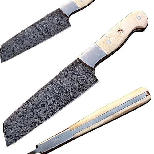 Handmade Damascus Chef Knife Tanto Blade Camel Bone Handle