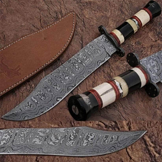Custom Made Damascus Steel Bowie Knife w/ Buffalo Horn Handle w/Sheath