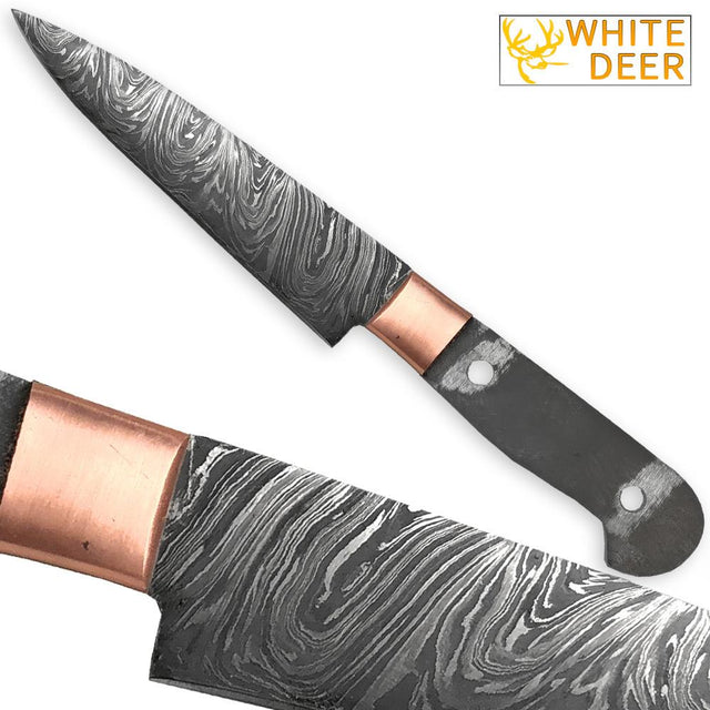 White Deer Damascus Steel 9.375in Paring Chef Blade   Cutlery DIY Handle