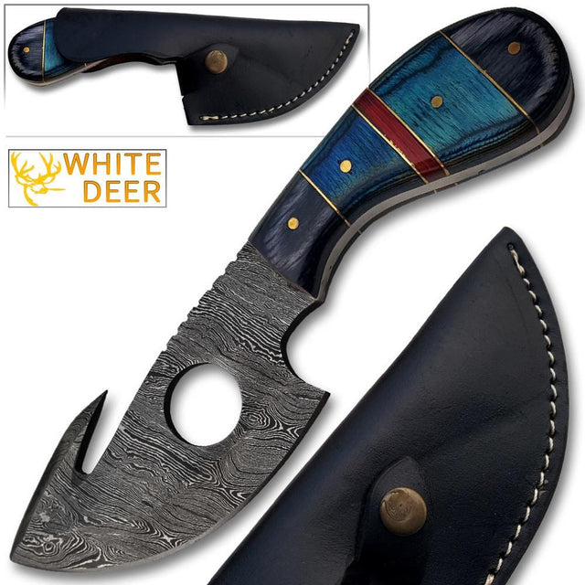 Custom Made White Deer Damascus Gut Hook Skinner Hunting Knife