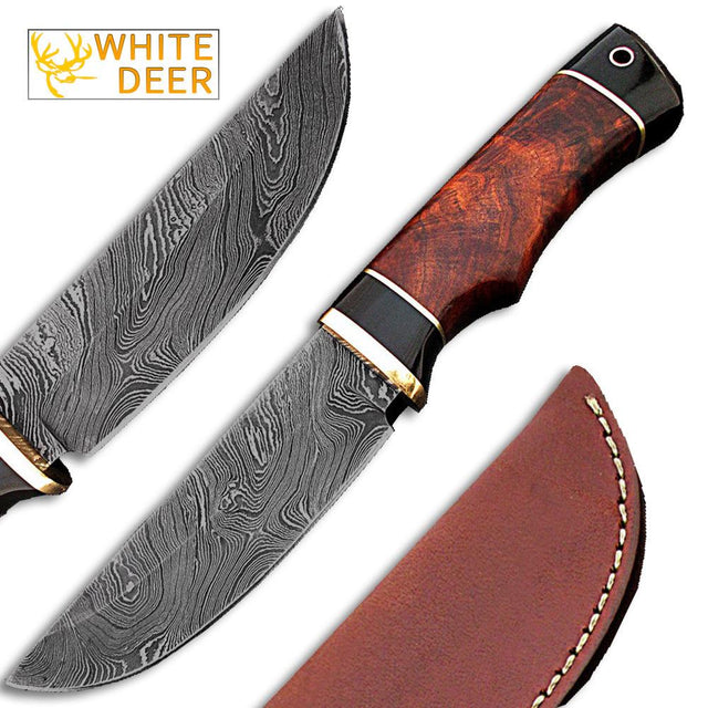 White Deer Rebel Komrad Damascus Knife Custom Walnut Hardwood Handle