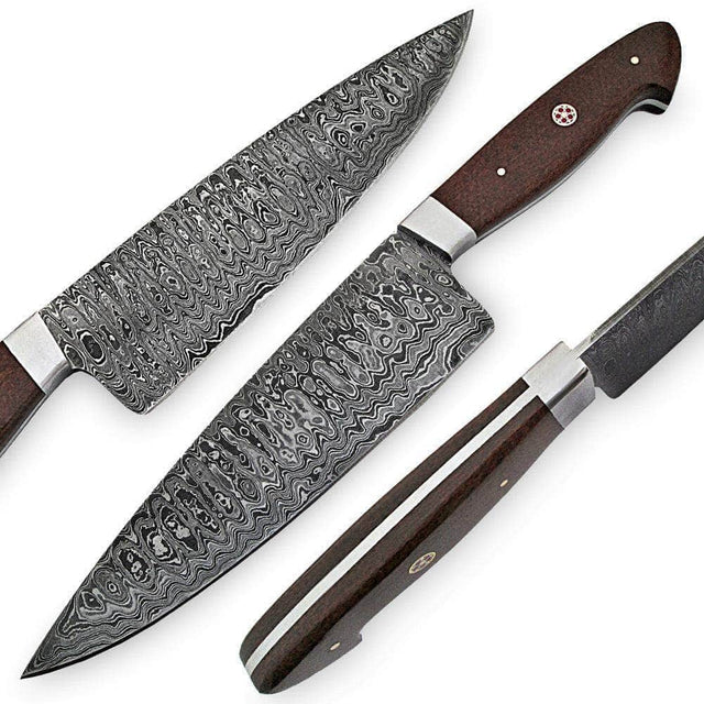 White Deer Damascus Steel Santoku Japanese Chef Knife Coyote Micarta Handle
