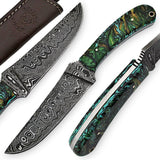White Deer Large Executive Damascus Steel Knife Full Tang Metallic Resin Handle