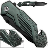 Alpha Tactical Glass Breaking Folding Knife 3CR13 Steel Blade & Belt Cutter
