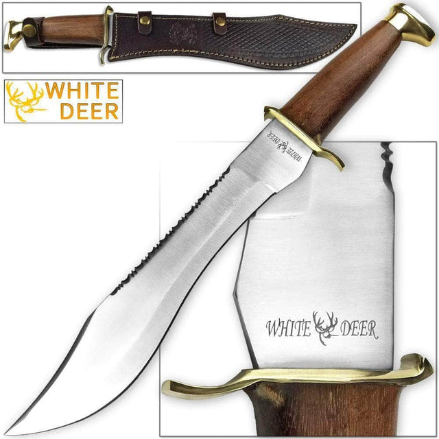 White Deer Magnum Dave Dundee Bowie Knife Jungle Sawback Serrated Spine w/Wood Handle