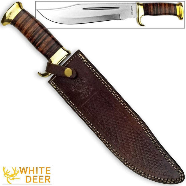 White Deer Magnum Outback American Bowie Knife with High Carbon Stainless Steel & Leather Handle