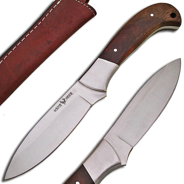 White Deer Full Tang J2 Steel Tactical Knife Operators Hardwood Grip Drop Point