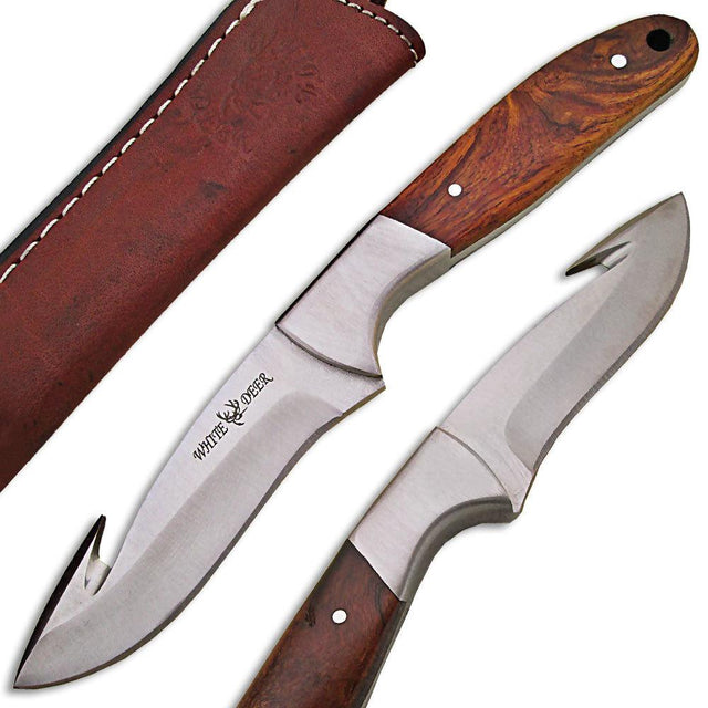 White Deer J2 Steel Hunters Guthook Skinner Knife with Wood Grip