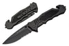 PK-383 Tactical Rescue Assisted Open 3.5 in Black Blade w/Glass Breaker and Seatbelt Cutter