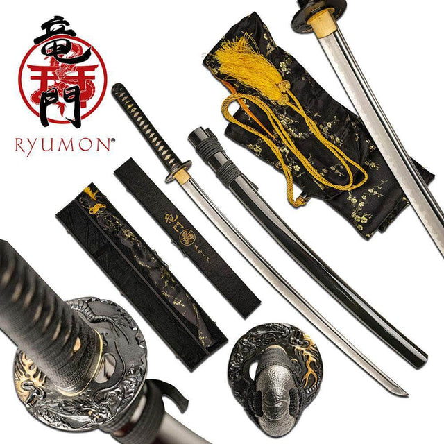 RYUMON RY-3207BK HAND FORGED SAMURAI SWORD