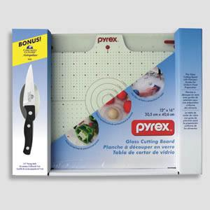 "Pyrex 12"" x16"" Glass Cutting Board w/ 3.5"" parer"