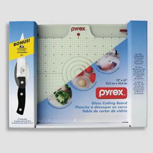 "Pyrex 12"" x16"" Glass Cutting Board w/ 5.5"" utility knife"