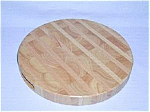 "14"" Round x 1 ½"" Striped Design End and Long-Grain Cutting Board"
