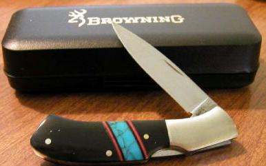 Browning Lockback Knife with Micarta Handle with Turquoise Stripe
