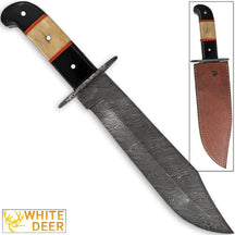 White Deer Hulking Damascus Bowie Knife Handmade w Guard XXL Grip