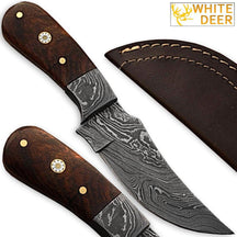 Custom Made Damascus Steel Skinner Knife w/ Hardwood Handle