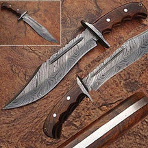 WHITE DEER Damascus Steel Blood Groove Bowie Knife w/ Rose Wood Han
