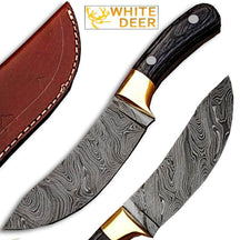 White Deer Custom Made Damascus SteelExotic Wood handle Buffalo Skinner