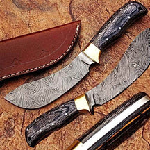 WHITE DEER Damascus Steel Kukri Skinner Knife Exotic Wood Handle Buffalo Skinner