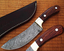 CUSTOM MADE DAMASCUS BUFFALO SKINNER KNIFE