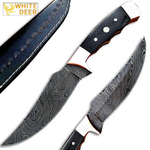 White Deer Deplorables Damascus Bowie Knife Buffalo Horn&Copper Bolster Trailin
