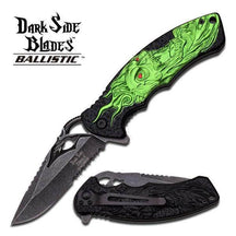 Dark Side Green Skull Spring Assisted Knife