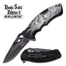 Dark Side 4.75in Folder with Stonewash Blade Grey Skull Handle, DS-A001BGY