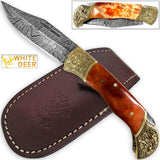 Lockback Damascus Folding Knife Orange Giraffe Bone Handle Engraved Bolster