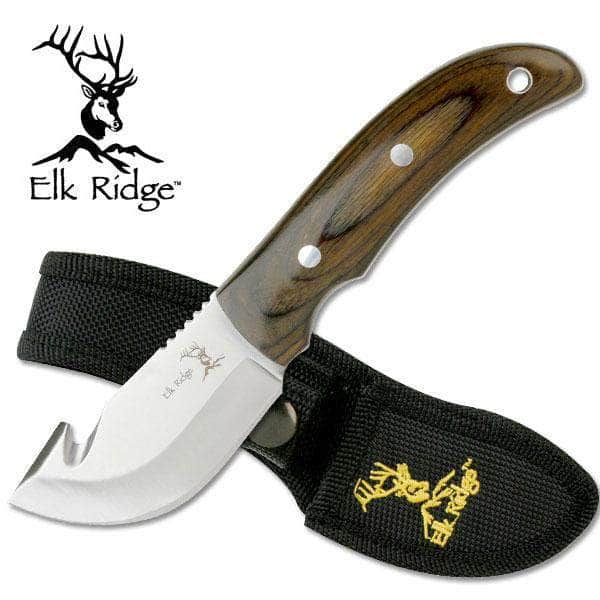 Elk Ridge Custom Mini Skinner Alloy Stainless Steel Guthook Knife Wood Grips