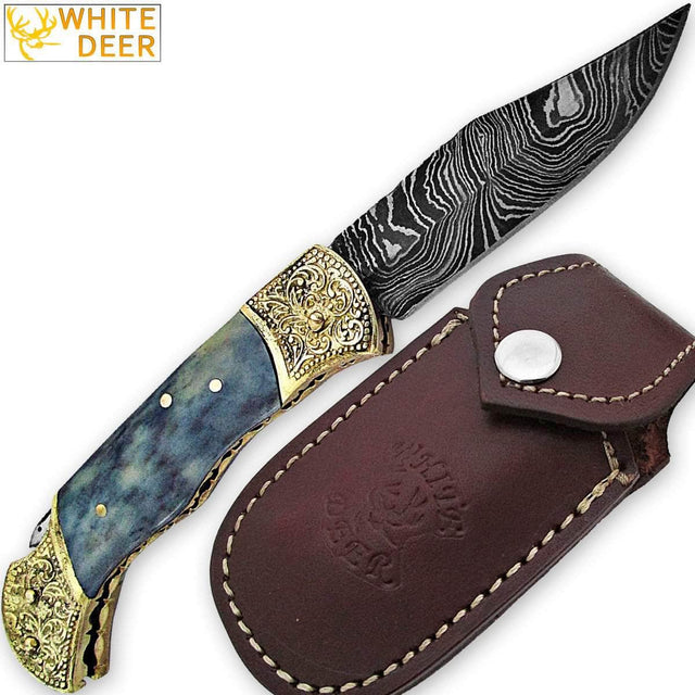 WHITE DEER Lockback Damascus Folding Knife Grey Giraffe Bone Handle Engraved Bolster