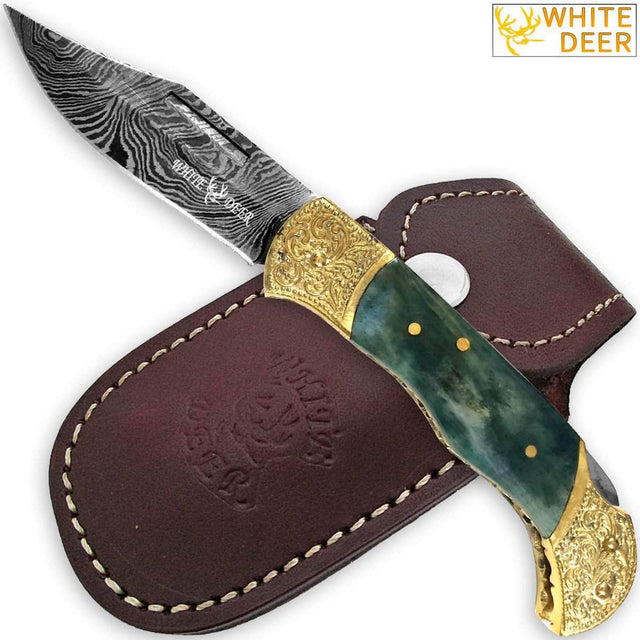 WHITE DEER Lockback Damascus Folding Knife Giraffe Bone Handle Engraved Bolster
