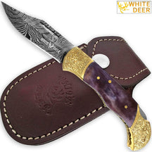 WHITE DEER Lockback Damascus Folding Knife Purple Giraffe Bone Handle Engraved Bolster