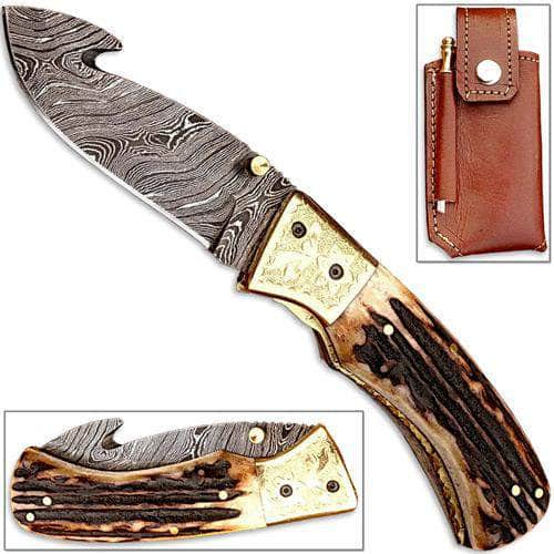 Forged Damascus Folding Knife Guthook Stag Handle