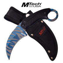 3851 USA Blue Line Tiger Stripes Karambit Survival Knife Tactical Duty Blade