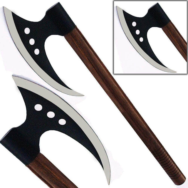 Danish Medieval Broadaxe Steel Viking Replica Battle Axe 20in Hatchet Triple Hole