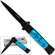 Stiletto Milano Godfather Kissing Crane Knives Legal Assisted Opening Knife Blue Pearl