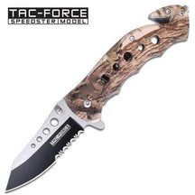 Tac-force High Def Woodland Camo Rescue Folding Pocket Knife Glass Breaker Belt Cutter