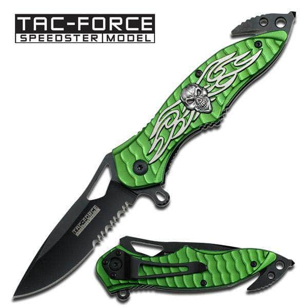 Spring Assist -  Legal Auto Knife  - Winged Skull Fighter Green