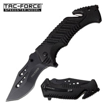Tac-Force Folding Tracker Blade Tactical & Rescue Pocket Knife All Black