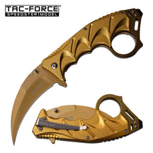 TAC-FORCE Tactical Karambit Assisted Open Knife Gold 3CR13 Steel, w Tool